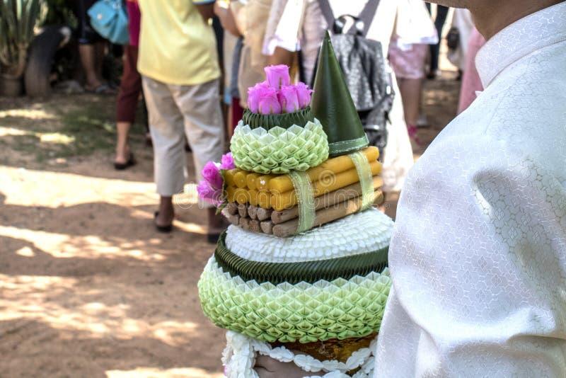 Marié traditionnel thaïlandais de cérémonie l'épousant image stock