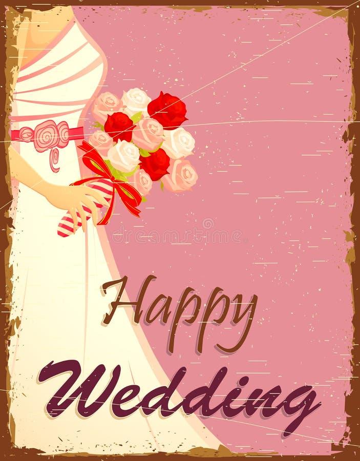 Mariée à l'arrière-plan de mariage illustration de vecteur