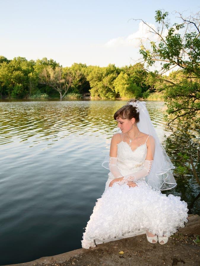 Mariée au lac photo stock
