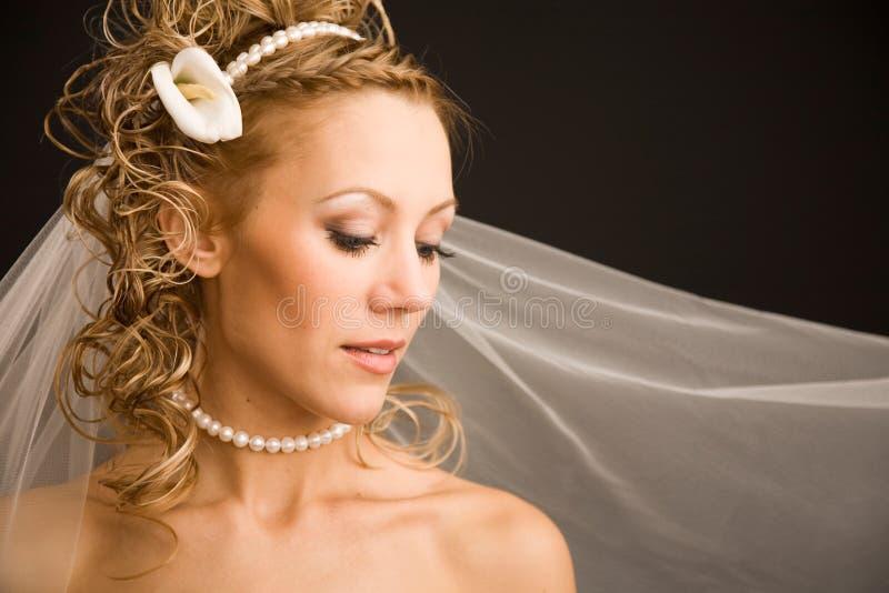 Mariée avec le voile photographie stock