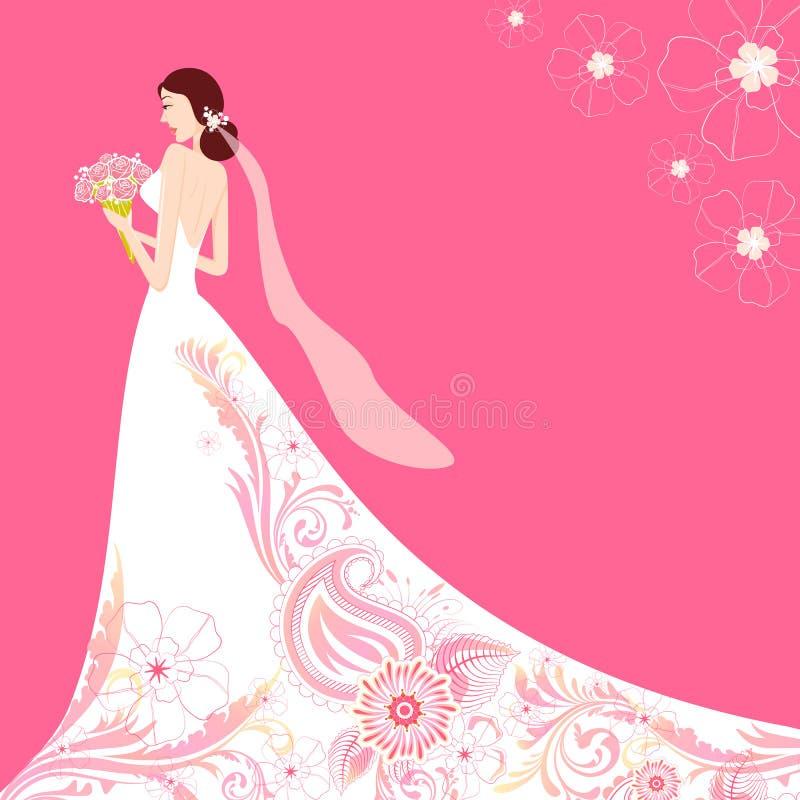 Mariée dans la robe de mariage florale illustration stock