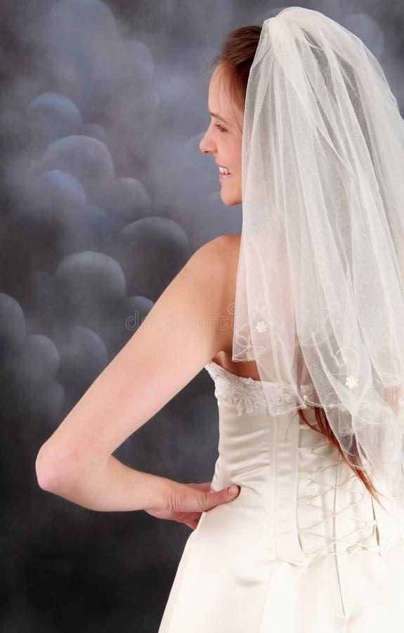 Mariée dans la robe de mariage voilée photo libre de droits