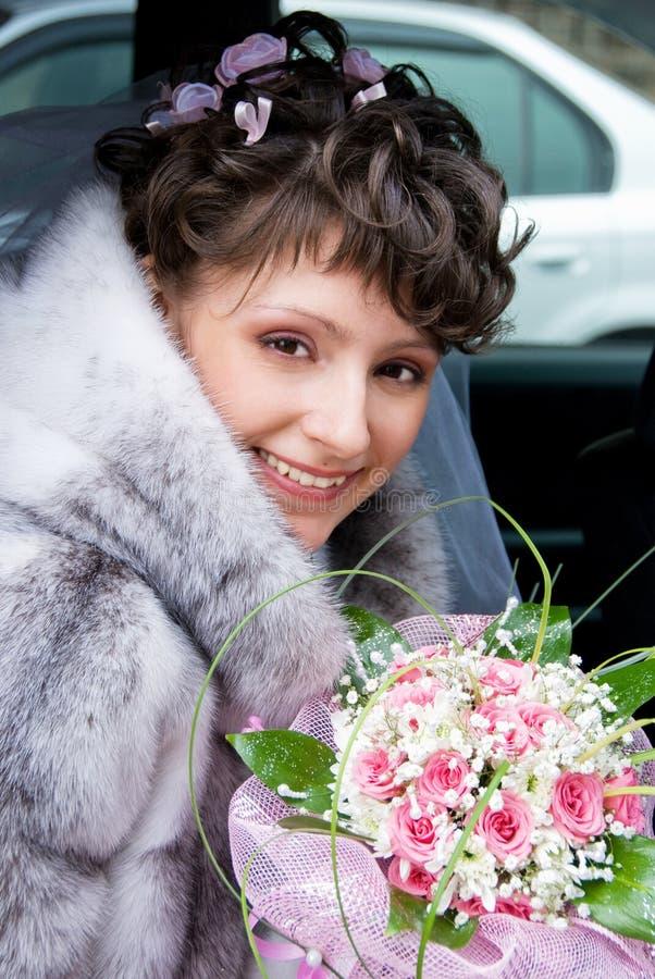 Mariée dans le véhicule photos libres de droits