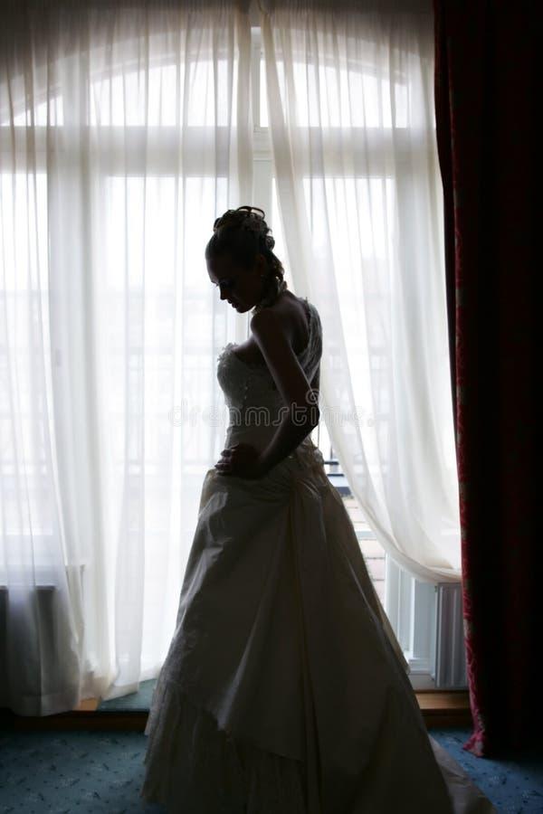 Mariée en silhouette photographie stock