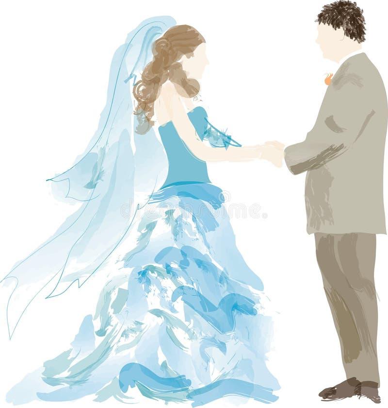 Mariée et marié abstraits   illustration stock