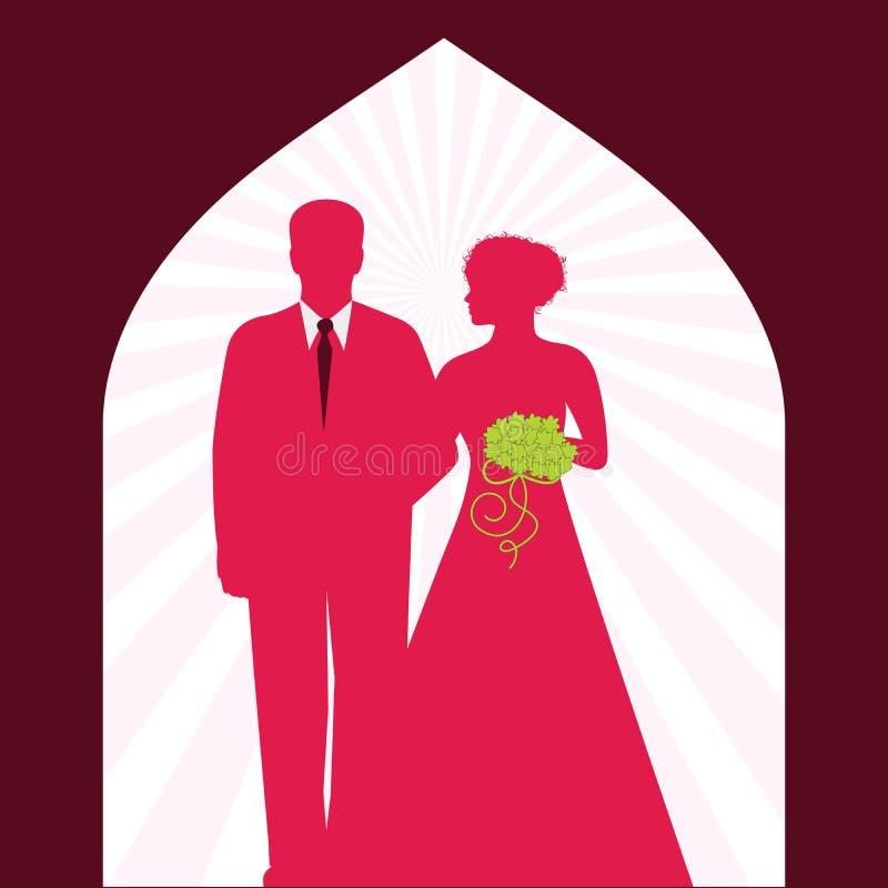 Mariée et marié dans le passage arqué illustration de vecteur
