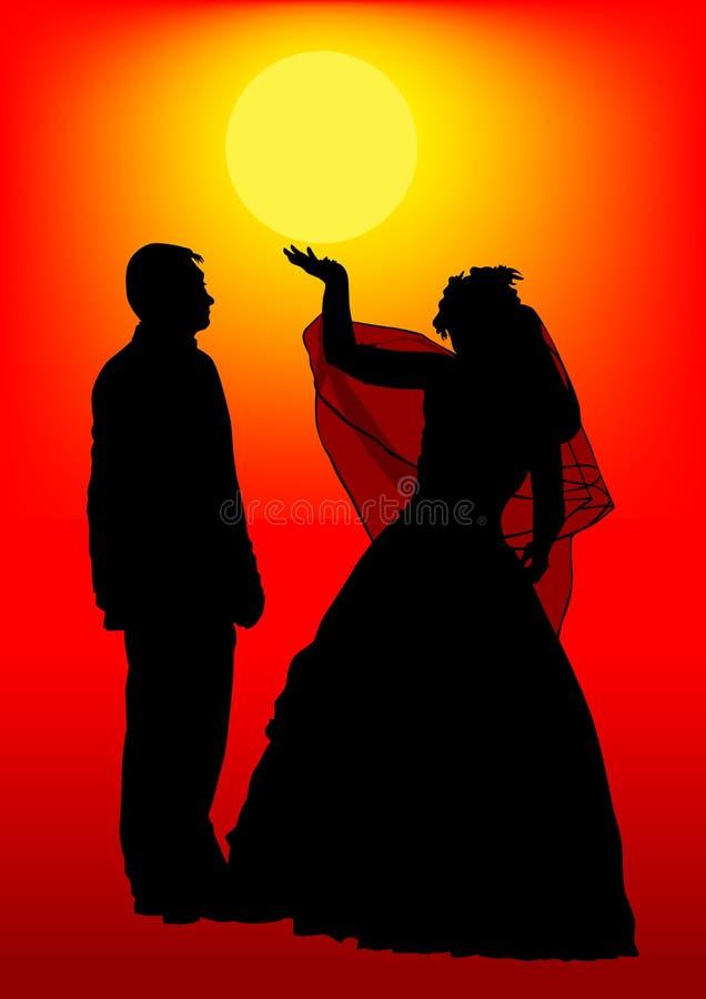 Mariée et marié en soleil illustration libre de droits