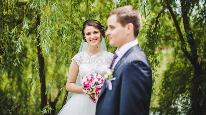 Mariée et marié posant ensemble images libres de droits