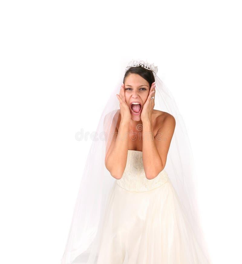 Mariée folle : Bridezilla en fonction photographie stock