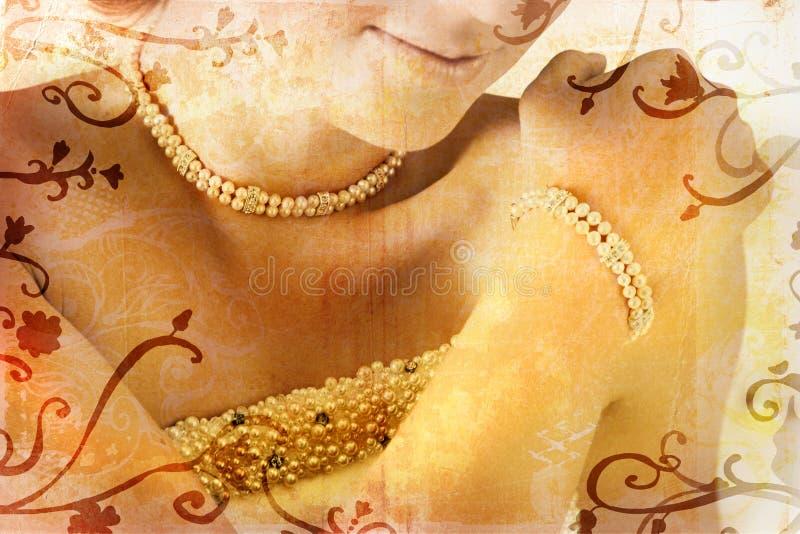 Mariée grunge avec des perles illustration libre de droits