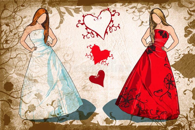 Mariée grunge et demoiselle d'honneur illustration stock