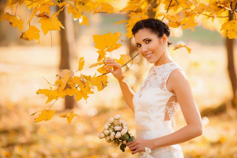 Mariée heureuse en stationnement d'automne Fille de sourire dans une robe blanche, dehors image libre de droits