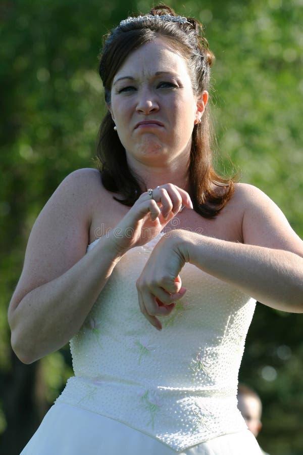 Mariée impatiente Wedding image stock