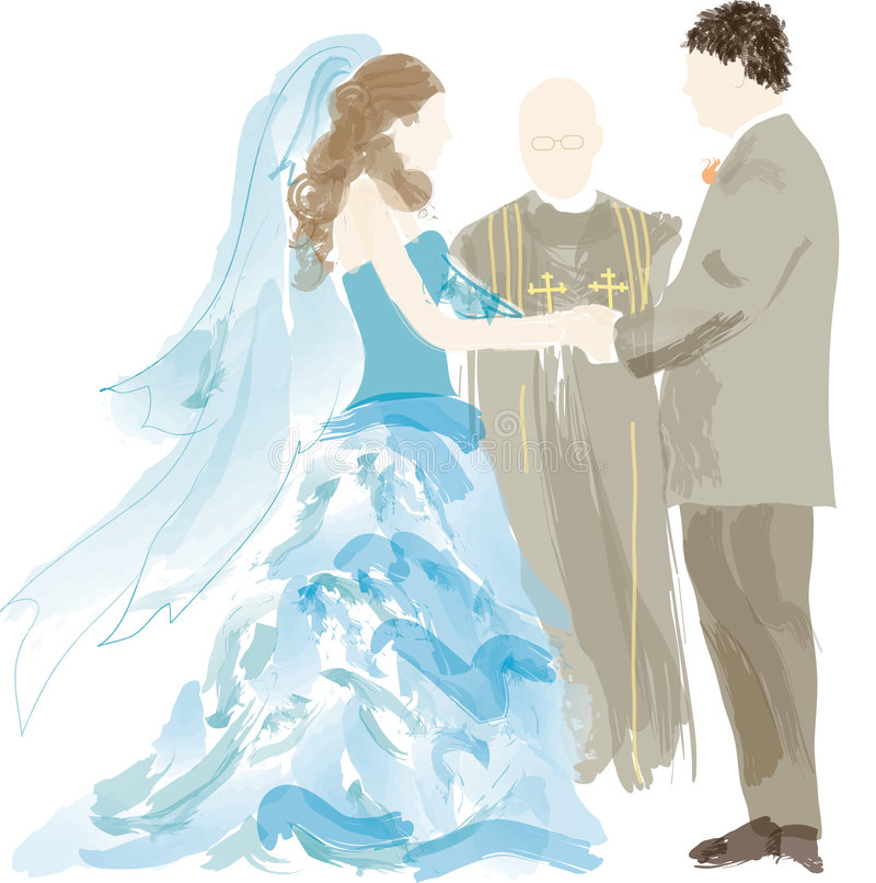 Mariée, marié et officant illustration de vecteur