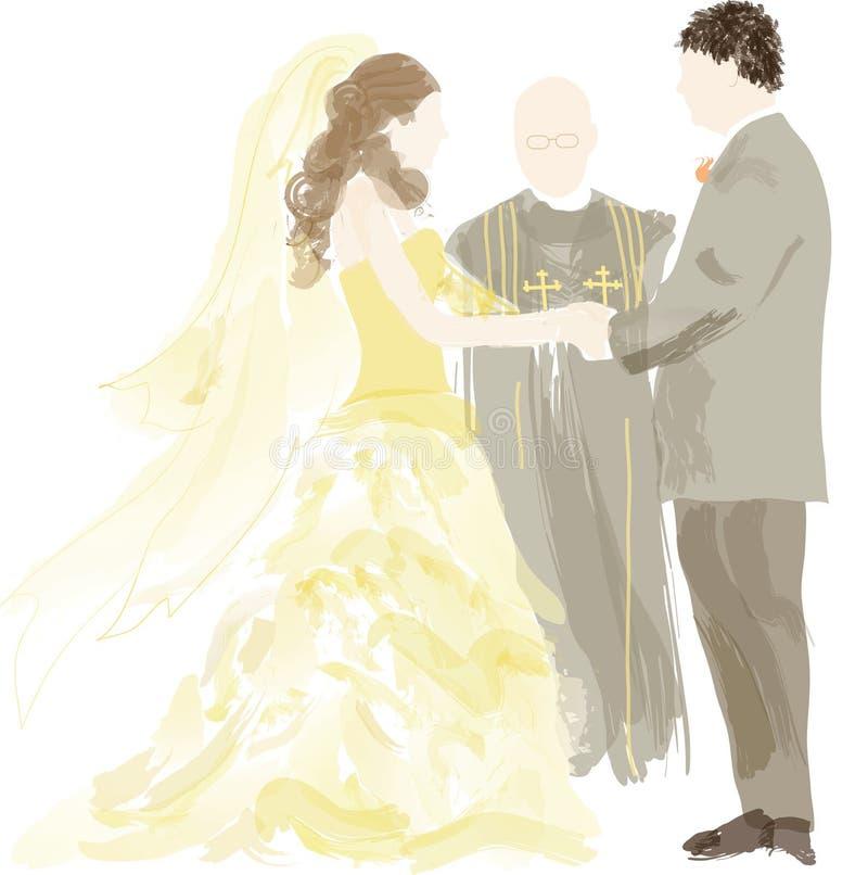 Mariée, marié et officant   illustration libre de droits