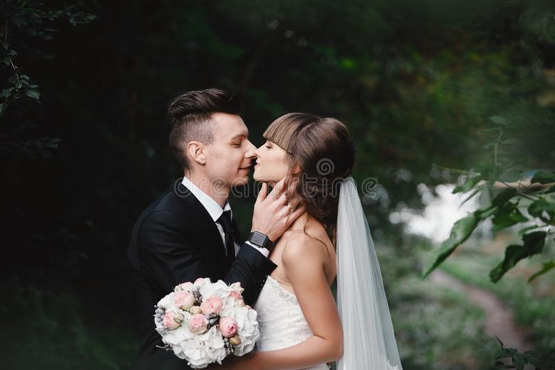 Mari?e et mari? dans des baisers de stationnement les jeunes mari?s de nouveaux mari?s de couples ? un mariage en nature embrasse images libres de droits