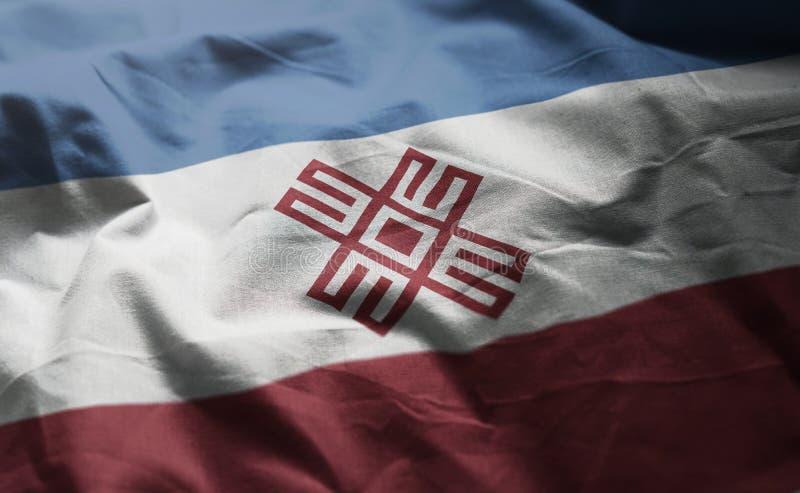 Mari El Flag Rumpled Close Up imagen de archivo