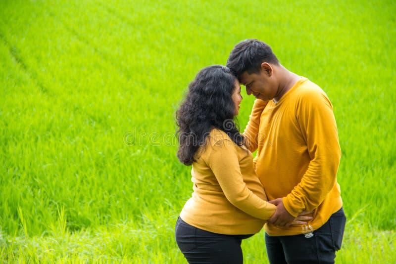 Mari et épouse asiatiques romantiques pendant la grossesse, portrait extérieur sur le paysage rural image libre de droits