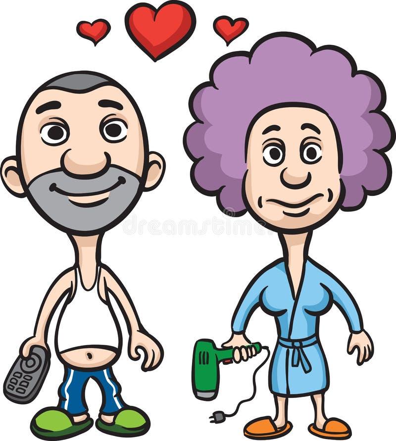 Mari et épouse de couples d'amour d'avatar de dessin animé illustration libre de droits