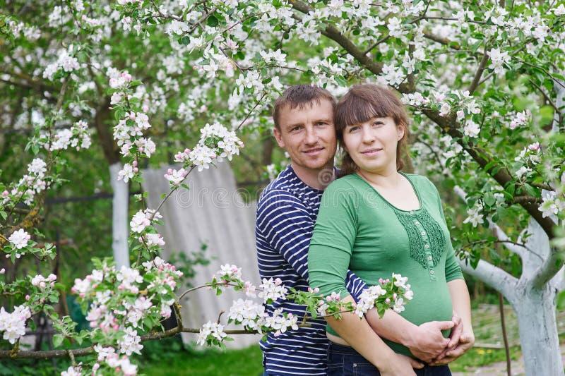 Mari et son jardin de floraison enceinte d'épouse au printemps photos libres de droits