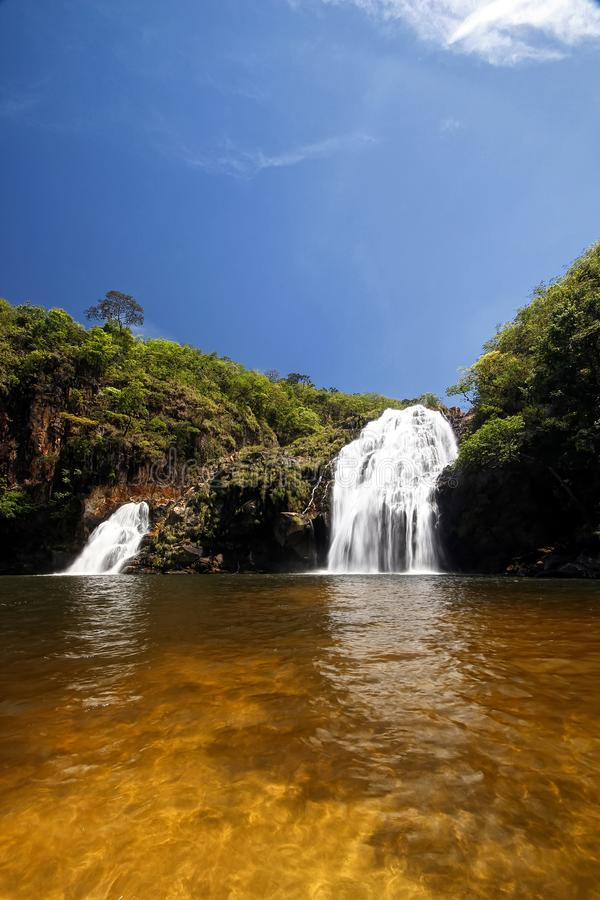 Maria Augusta Waterfall in Sao Batista do Gloria, Serra da Canastra - Minas Gerais, Brazilië stock fotografie