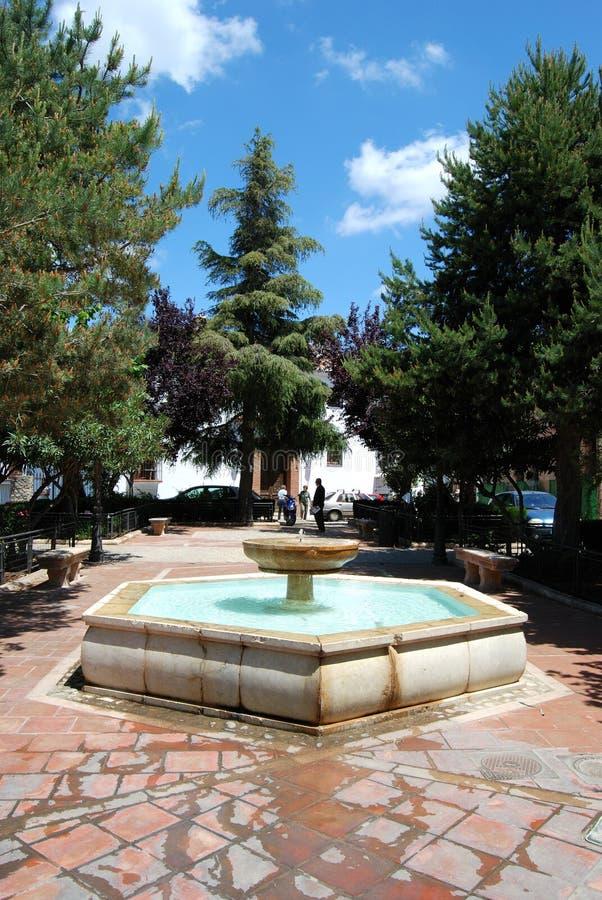 Maria Auxiliadora Plaza fountain, Ronda, Spain. stock photography