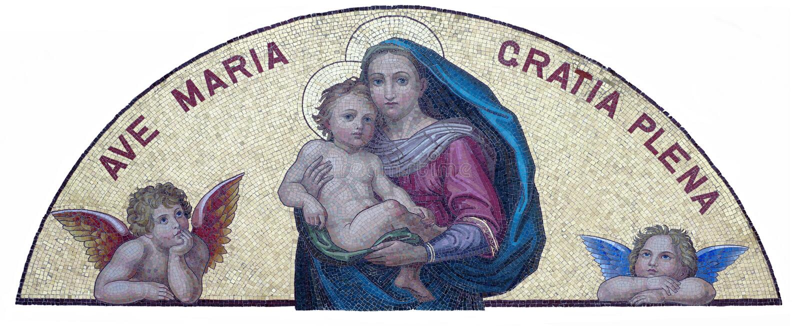 Maria e bambino Jesus Hail Mary, pieno di tolleranza immagine stock