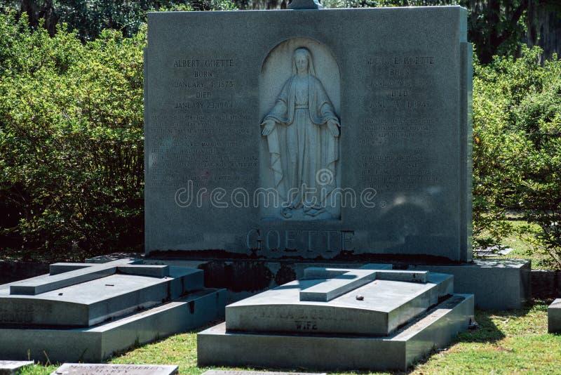 Maria E Larkin Goette gravsten Bonaventure Cemetery Savannah Georgia royaltyfria bilder