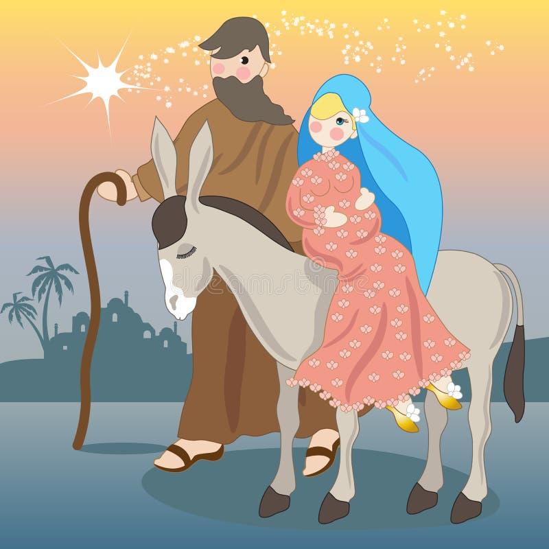 Maria en los paseos del burro hacia Belén con José ilustración del vector