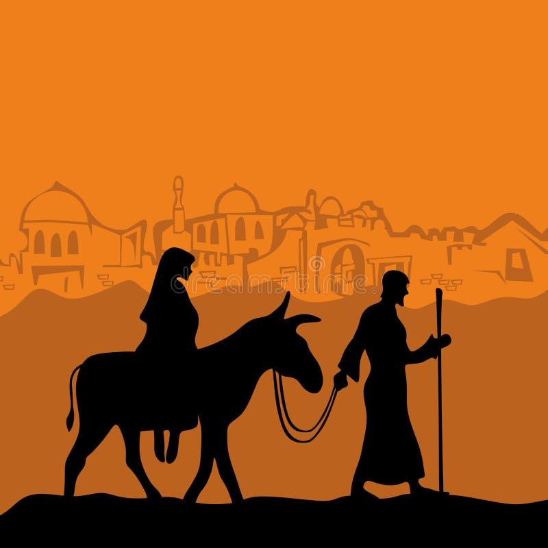 Maria en un burro y un José libre illustration