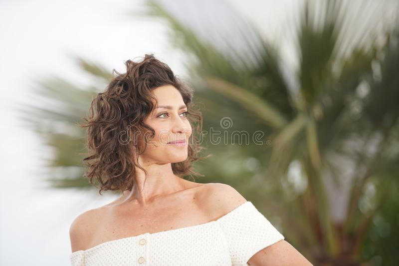 Maria Fernanda Candido attends the photocall f. CANNES, FRANCE - MAY 24, 2019: Maria Fernanda Candido attends the photocall for `The Traitor` during the 72nd royalty free stock images