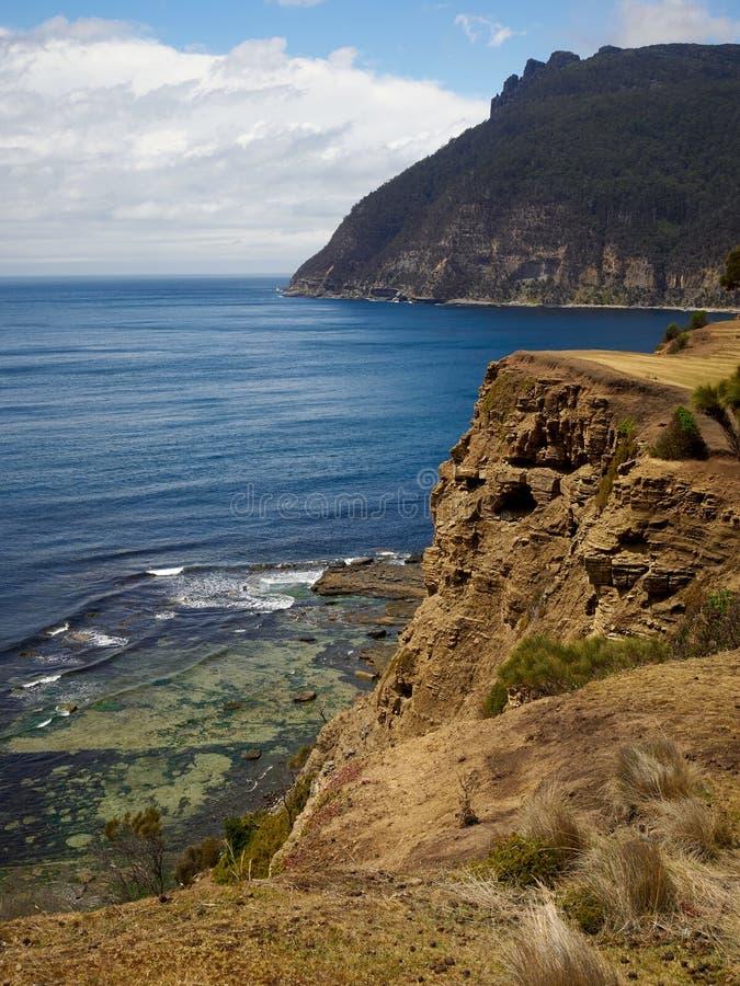 Maria Island kust- sikt över fossil- klippor fotografering för bildbyråer