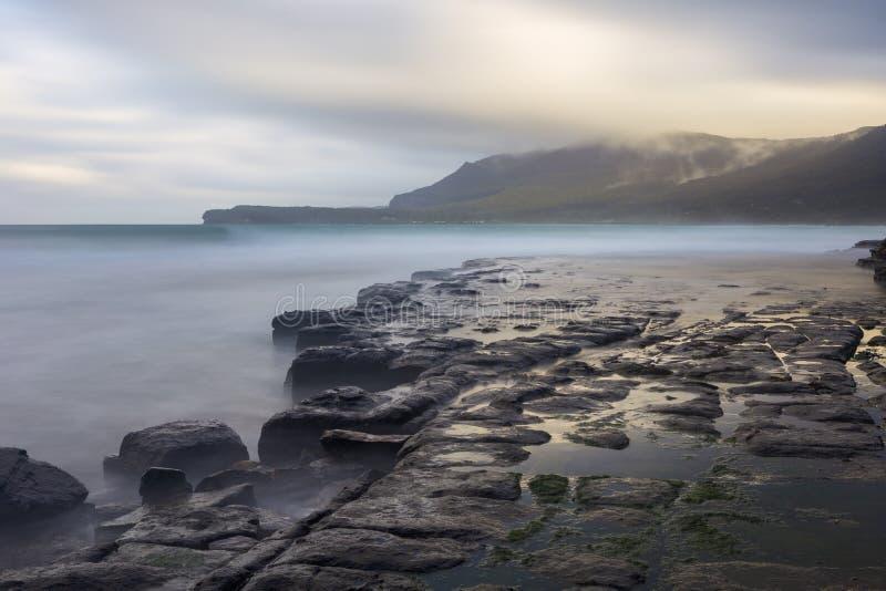 Maria Island North Coast, vista dos penhascos fósseis fotografia de stock royalty free
