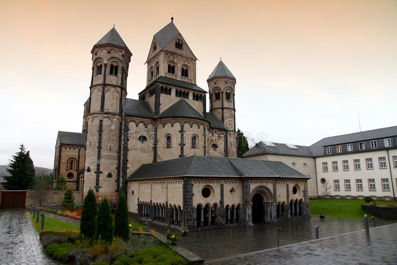 Maria Laach Abbey. The romanic church of the Maria Laach Abbey in Germany stock image