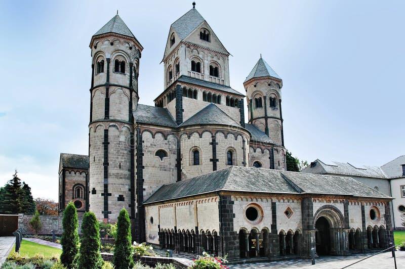 Maria Laach Monastery. The romanesque church of the Maria Laach Abbey in Eifel, Germany stock photo