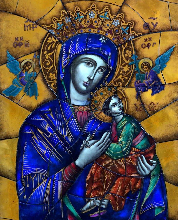 Maria mit Jesus und Engelsmosaik stockfoto