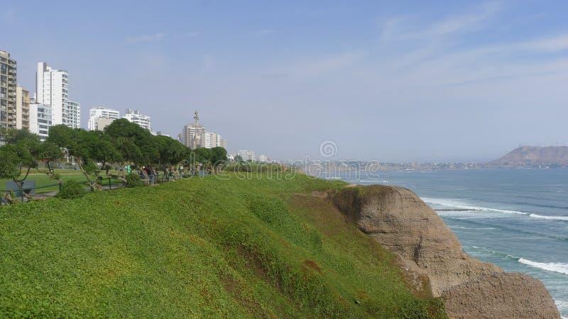 Maria Reiche park in Miraflores district of Lima. Scenic view of the Maria Reiche park in Miraflores district of Lima stock image