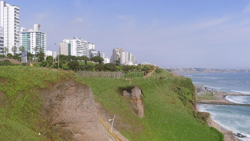 Maria Reiche park in Miraflores district of Lima. Scenic view of the Maria Reiche park in Miraflores district of Lima, Peru stock photography