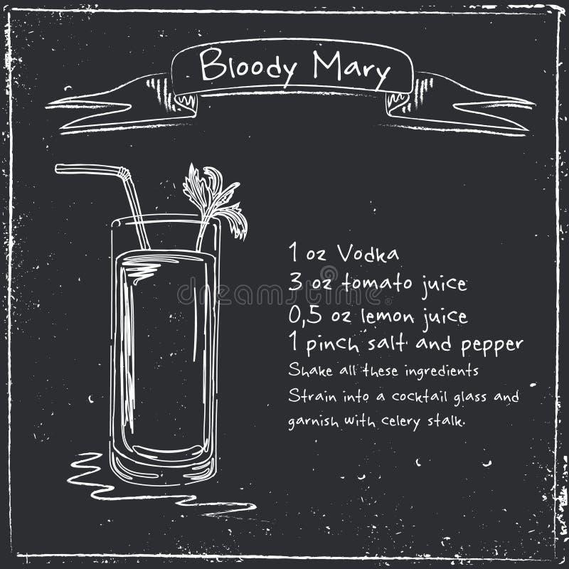 Maria sangrienta Ejemplo dibujado mano del cóctel stock de ilustración