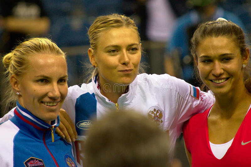 Maria Sharapova, Svetlana Kuzniecova and Vitalia Diatchenko. During Fed Cup 2015 in Kraków, Poland royalty free stock photos