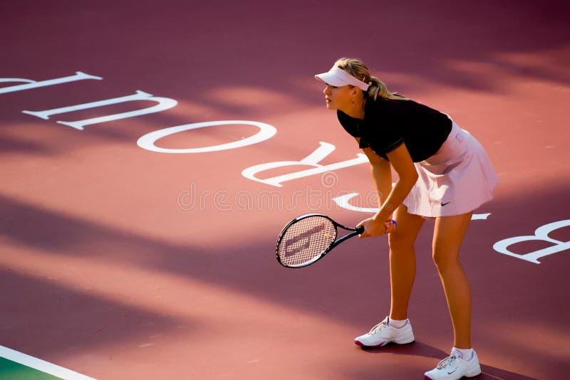 Maria Sharapova Waiting For The-de Dienst stock foto's