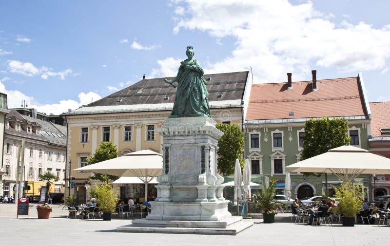Maria Theresa-monument in Neuer Platz, Klagenfurt royalty-vrije stock afbeelding