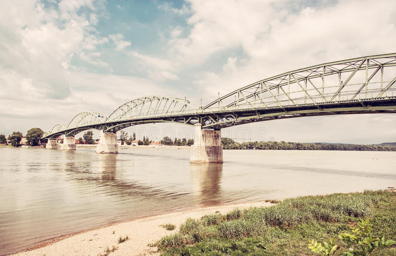 Maria Valeria bridge from Esztergom, Hungary to Sturovo, retro f stock photography