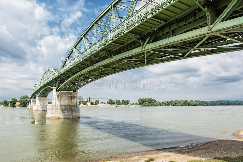 Maria Valeria bridge from Esztergom, Hungary to Sturovo, Slovakia, architectural scene. Maria Valeria bridge joins Esztergom in Hungary and Sturovo in Slovak stock photo