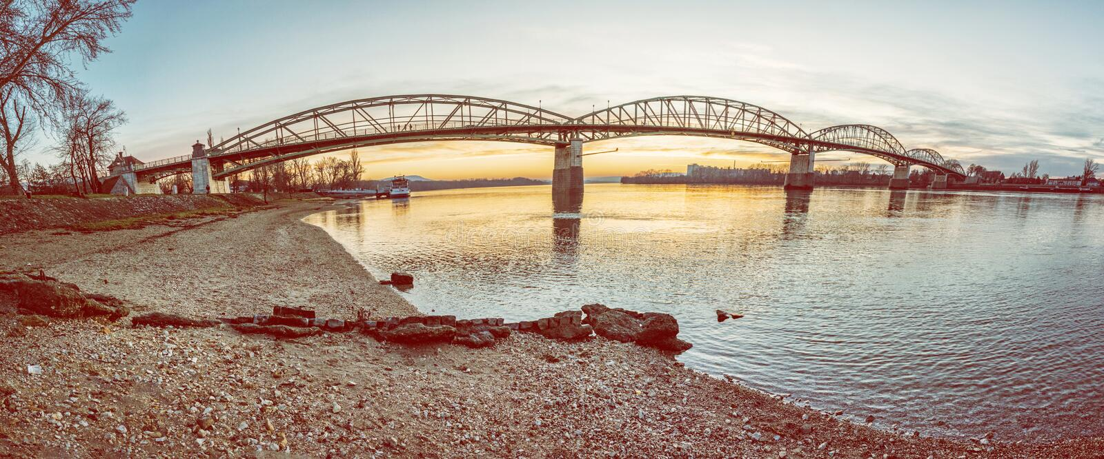 Maria Valeria bridge from Esztergom to Sturovo royalty free stock image