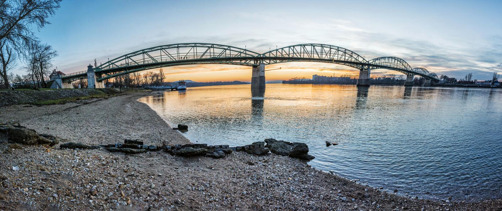 Maria Valeria bridge from Esztergom to Sturovo, sunset scene royalty free stock photo