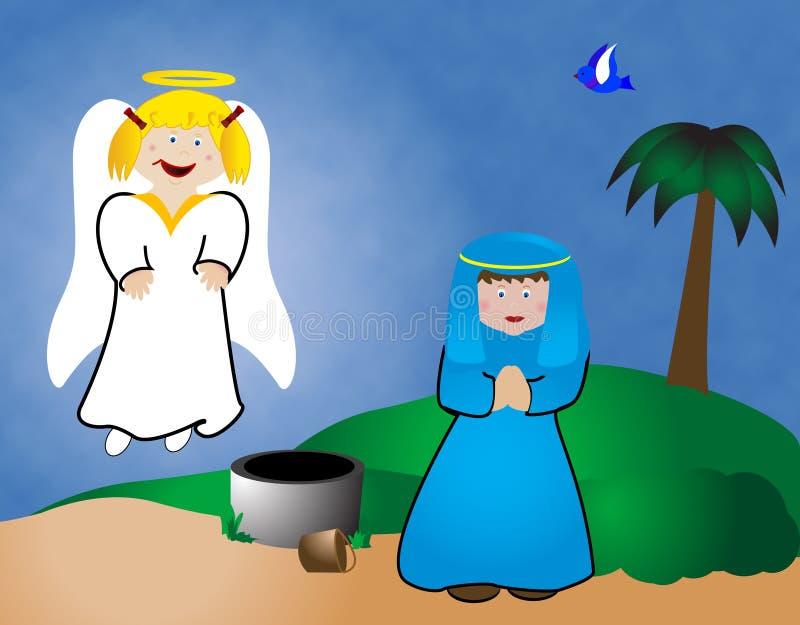 Maria y el ángel ilustración del vector