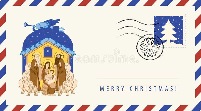 Maria y Jesús Adoración de unos de los reyes magos Sobre stock de ilustración