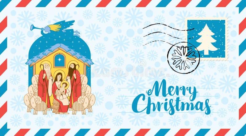 Maria y Jesús Adoración de unos de los reyes magos Sobre ilustración del vector