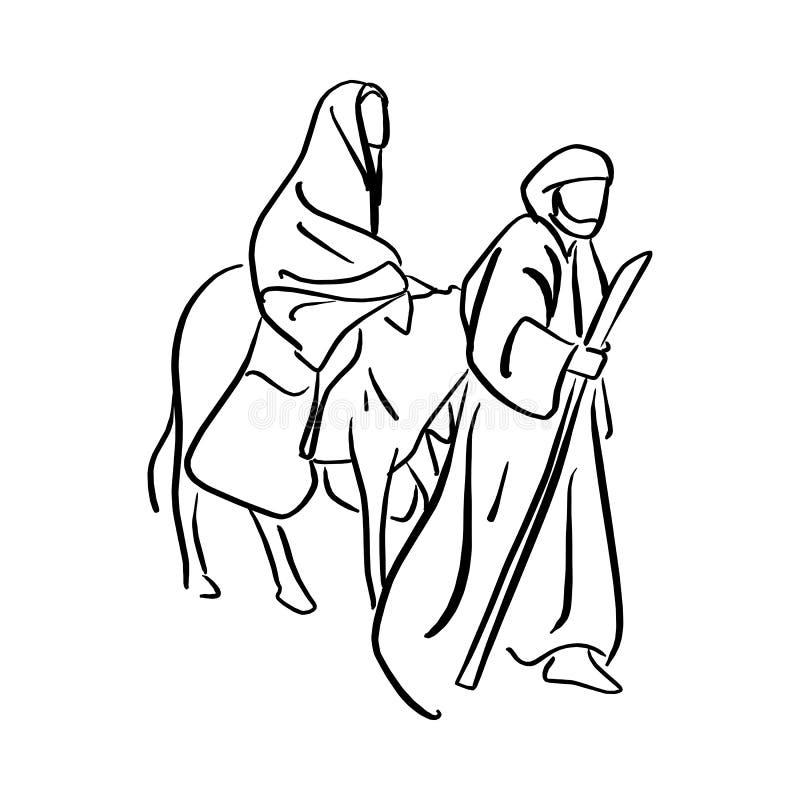 Maria y José en el postre con un burro en el SE de la Nochebuena stock de ilustración